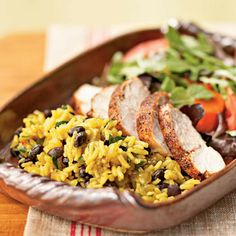 Jerk-Seasoned Turkey with Black Beans and Yellow Rice by Cooking Light