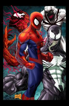 Carnage, Spider-Man, Anti-Venom, and Venom