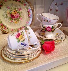 Vintage Mismatched Tea set for Four Teacup by VerasTreasures, £40.00