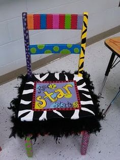 rockstar status chair. this would be cool to have in a classroom for birthdays or star of the week :)