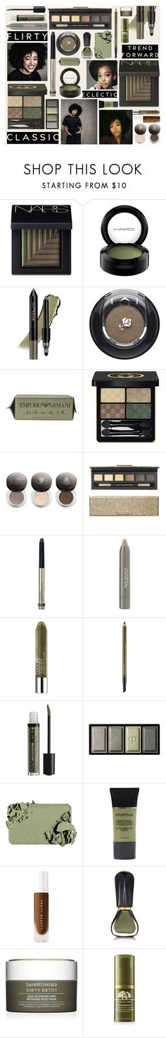 """""""Beauty in Greens and Browns"""" by fassionista ❤ liked on Polyvore featuring beauty, NARS Cosmetics, MAC Cosmetics, trèStiQue, Lancôme, Giorgio Armani, Gucci, Chantecaille, By Terry and Juice Beauty"""