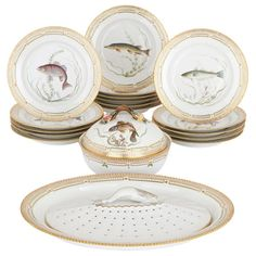 For Sale on - This exquisite eighteen-piece porcelain dinner service was created by the acclaimed Royal Copenhagen Factory. The company was founded in with the Dinner Plates For Sale, Dinner Sets, Royal Copenhagen, Porcelain Signs, White Porcelain, Antique Tea Sets, Japanese Tea Set, Flora Danica, Danish Royal Family