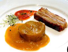 Solomillo al Pedro Ximenez con trinchat de patata y bacon y tomate amargo
