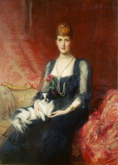 Royals in Art Sitter: Alexandra, Princess of Wales of the United Kingdom, later Queen Alexandra, with Facey, her pet Artist: Samuel Luke Fildes Date: 1893