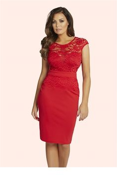 4ff209272f Jessica Wright Bliss Lace Detail Bodycon Dress An ultra sexy style bodycon.  Look glamorous in this beauitful red lace bodycon.
