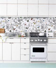 a backsplash solution for rental kitchens: fabric under plexiglass