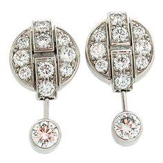 CARTIER Gold Himalia Diamond Earrings. Ca.2000s