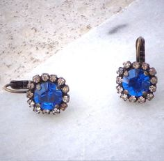 Swarovski crystal 8mm capri blue fancy drop earrings by CrystallizedByLena, $23.00