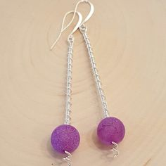Purple Fire Agate with Dragon Veins and Sterling Silver spiral wrapped earrings