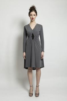 DIAMOND DRESS Long sleeved jersey dress with gathered front and diamond embellished detail. Diamond Dress, Aw 2014, 21st Century, Cold Shoulder Dress, Fashion Outfits, Detail, Long Sleeve, Clothing, Collection