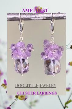 Pink Amethyst, Amethyst Cluster, Amethyst Jewelry, Amethyst Gemstone, Gemstone Jewelry, Dainty Earrings, Cluster Earrings, Earrings Handmade, Cyber Monday Specials