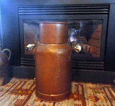 Tall Vintage Copper Vessel with delft handles by ArtandBookShop