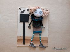 Art Doll Brooch School Girl mixed media collage by miopupazzo,