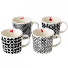 Mixed Accents Mugs (Set of 4) by Charlene Mullen