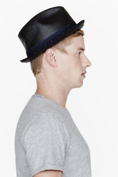 Rag & Bone Black Woven Ribbon-tied Straw Fedora for men | SSENSE
