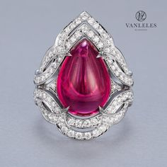 """""""Legends of Africa Collection - Masai shield ring featuring 10 carats of intensely rich purplish-pink Mozambican rubellite cabochon perfect for the festive…"""""""