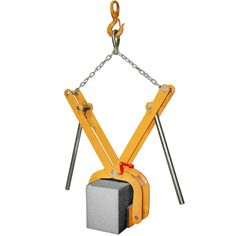 """Stone Kerb Clamp Product Code: AKSC200 Features: Powder coated frame to resist corrosion and rust. Tilting pads ensure maximum grip. Jaws open from 0"""" to 10 1/4"""" (0 mm to 260mm) Maximum safe working load of 440 lbs (200 Kgs) Dimensions in 810 x 200 x 720 mm www.aardwolf.com.au"""