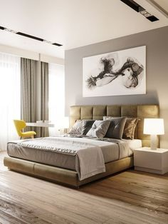 Home Interior Art Take a look at some contemporary bedroom design inspirations! Interior Art Take a look at some contemporary bedroom design inspirat Bedroom Furniture Design, Modern Bedroom Design, Home Room Design, Master Bedroom Design, Contemporary Bedroom, Home Bedroom, Home Interior Design, Bedroom Ideas, Lobby Interior