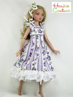 ♡♡  TWO dresses in One by Hankie Couture!  Each dress can be worn by itself!  Pinafore has stitched pintucks, narrow bodice band and wide shoulder straps with crinkled lace and flowers at the shoulders.  Polka dot dress underneath has double rows of ruffles!  #Hankiecouture  #doll  #Ellowyne  Sold on ebay in June 2014