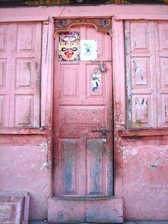 pink doors in Bhutan are not unusual