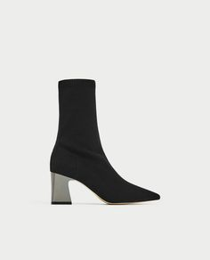 STRETCH FABRIC HIGH HEEL ANKLE BOOTS Zara