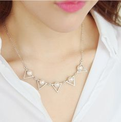 / Matt Gold or Silver / Five Triangles with by BeadsPool Triangles, Necklaces, Trending Outfits, Unique Jewelry, Handmade Gifts, Diamond, Silver, Gold, Etsy
