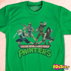 Italian Renaissance Ninja Painters Shirt by 80sTees.com in collections: 80s Cartoons: Teenage Mutant Ninja Turtles, Department: Adult Mens, Color: Green