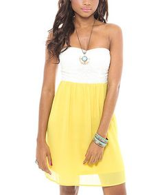 Look at this #zulilyfind! Funky Soul Yellow & White Lace-Detail Strapless Dress by Funky Soul #zulilyfinds