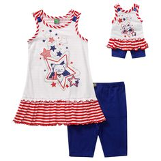 """""""Puppy & Stars"""" Bike Short Legging Set with Matching Outfit for 18 inch Play Doll"""