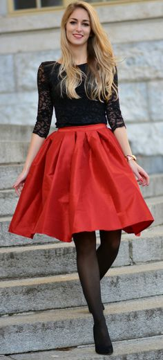 This Pin was discovered by chicwish. Discover (and save!) your own Pins on Pinterest. | See more about red skirts, valentines and midi skirts.