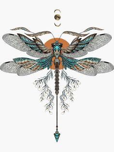 'Dragon Fly Tattoo' Sticker by Ruta Compass Tattoo, Arrow Tattoo, 1 Tattoo, Tatoo Art, Body Art Tattoos, Sleeve Tattoos, Heart Tattoos, Dragon Fly Tattoos, Tatoos