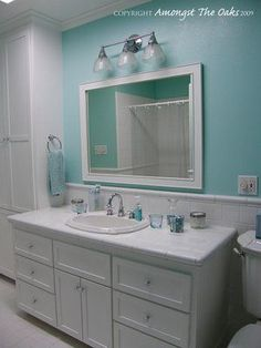 Espresso brown shaker style bathroom vanity with a leather look mirror http thechanginghouse - Tiffany blue bathroom ideas ...