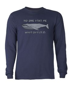 Navy & Gray 'No One Asks Me' Whale Long-Sleeve Tee
