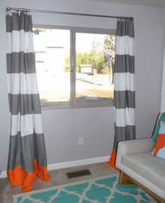 schue love: DIY West Elm Curtain Rod & Striped Curtains     Striped curtain made from shower curtain