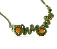 Crochet Necklace Geometric Free Form Pepper by vanessahandmade, $44.00
