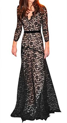 nice Miusol Womens Ladies Sexy Lace Wedding Evening Long Party Cocktail Party Full Dresses -90%Nylon 10%Spandex Deep-V Neck,2/3 Sleeves Floral Lace Pattern,Long Style -http://weddingdressesusa.com/product/miusol-womens-ladies-sexy-lace-wedding-evening-long-party-cocktail-party-full-dresses/
