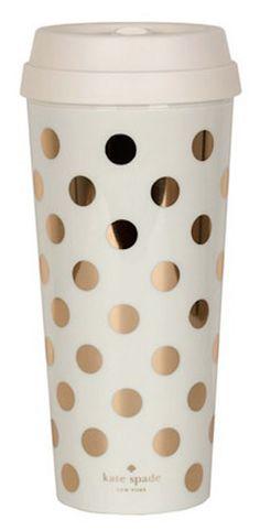 gold polkadot coffee tumbler