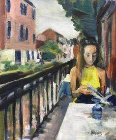 Choosing Lunch by Sandra Haney, Oil Original Art, Original Paintings, Painting People, Woodblock Print, Figurative Art, Lovers Art, Impressionism, Painting Prints, Buy Art