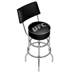 UFC Padded Swivel Bar Stool with Back, Black
