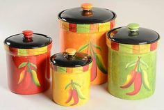 Canister Set Chili Pepper Orange Green Red Yellow Ceramic from DnDistribution. Shop more products from DnDistribution on Wanelo. Kitchen Canister Sets, Canisters, Chilli Recipes, Mexican Food Recipes, Kitchen Themes, Kitchen Decor, Kitchen Ideas, Southwest Decor, Orange
