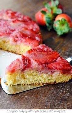 Torta rovesciata alle fragole senza burro e olio vickyart arte in cucina