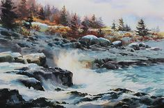 Winter at Point Prim by Poppy Balser Watercolor ~ 15 x 21