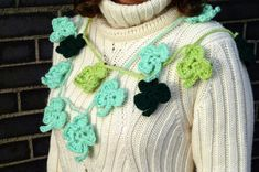 An easy crochet pattern for clover/shamrock bunting, quick pattern for beginners, Irish garland, home banner luggage tag, bag charm tutorial Quick Crochet Patterns, Christmas Hat, Leaf Clover, Chunky Yarn, Secret Santa, St Patricks Day, Irish, Crochet Necklace, My Etsy Shop
