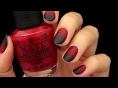 Matte Black & Red Ombre Nails (easy for Halloween!) - YouTube