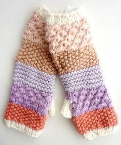 Kids GAP Girls PEACH CREAM Coral Textured Knitted Cut Off Mittens Gloves <3