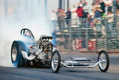 """1964 Tom """"The Mongoose"""" McEwen in Lou Baney's Yeakel Plymouth sponsored dragster at Lions Dragstrip in Southern California. Revell Model Kits, Nhra Drag Racing, Auto Racing, Top Fuel Dragster, Nostalgia, Drag Bike, Vintage Race Car, Drag Cars, Car Humor"""