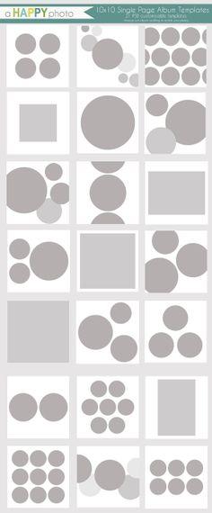 10 x 10 Album Circles 21 einzelne Seite Vorlagen von ahappyphoto, $30,00