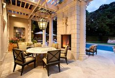 Love this outdoor seating area by the pool :)