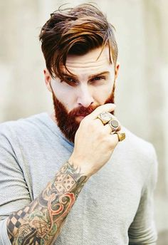 Men's Hairstyles with Beards are back in style Mens Hairstyles With Beard, Hair And Beard Styles, Haircuts For Men, Short Hair Styles, Men's Hairstyles, Sexy Beard, Beard Love, Style Masculin, Ginger Men