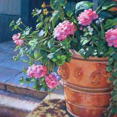 Pastel painting of a pink Geranium flower pot by Jill Stefani Wagner.